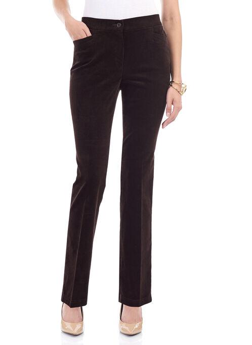 Corduroy Straight Leg Pants , Brown, hi-res
