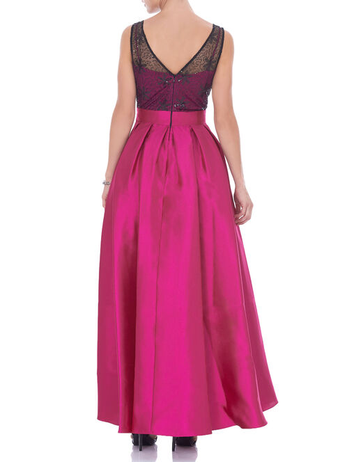 Sleeveless Beaded Trim Gown , Red, hi-res