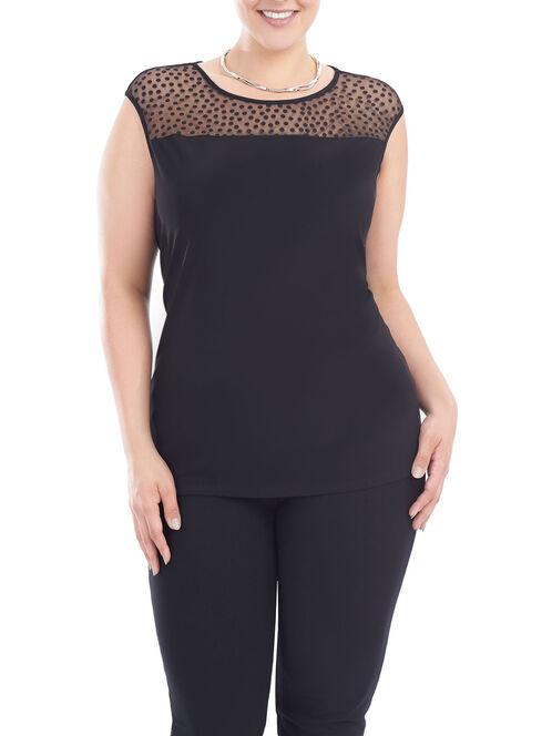 Sleeveless Cut & Sew Top, Black, hi-res