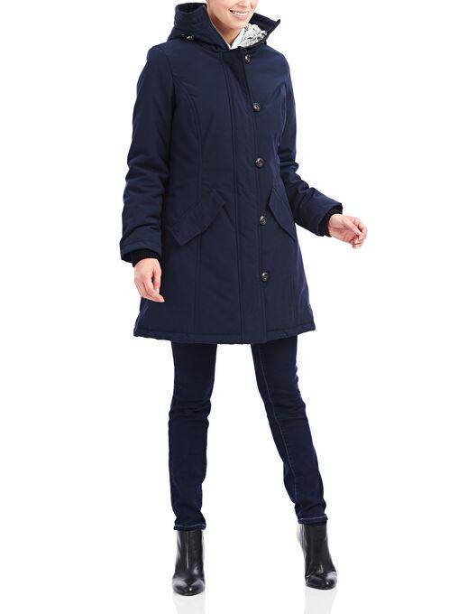 Novelti Faux Fur Polyfill Coat , Blue, hi-res