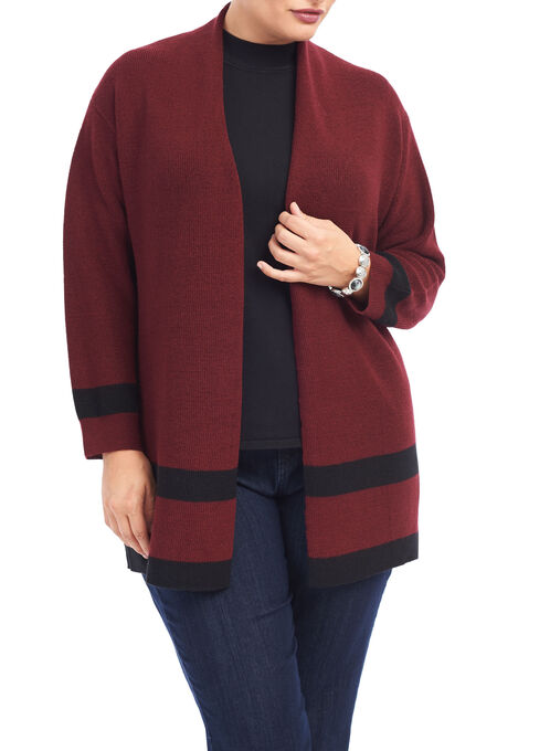 Long Sleeve Tunic Knit Cardigan, Red, hi-res