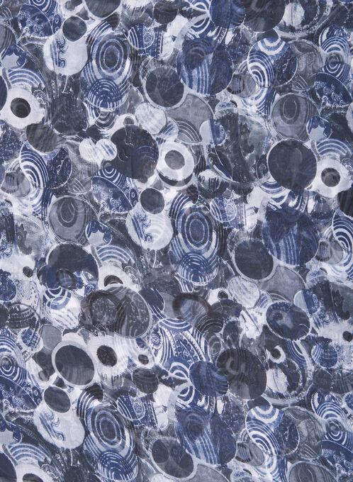 Circle Print Lightweight Scarf, Grey, hi-res