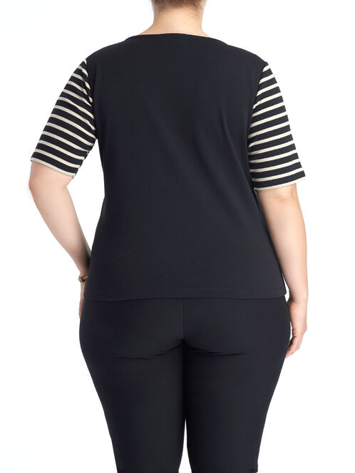 Elbow Sleeve Stripe Print Top, Black, hi-res