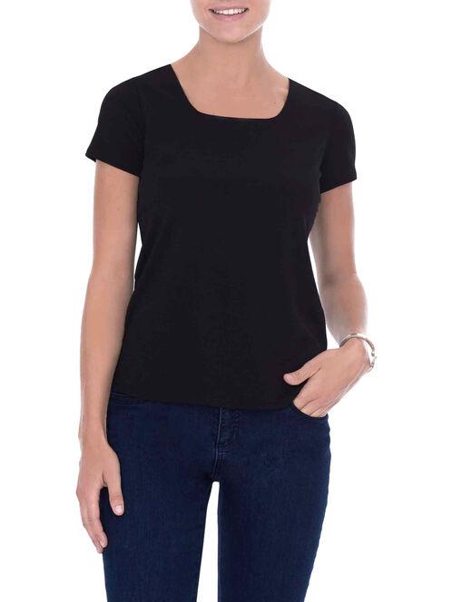 Short Sleeve Knit Top, Black, hi-res