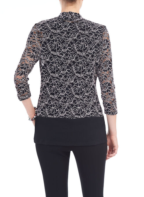 Solid Border Lace Cover-Up, Black, hi-res