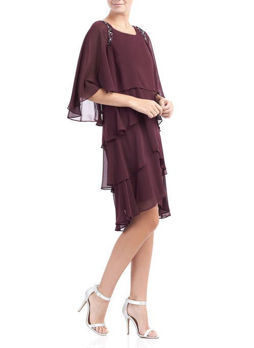 Elbow Sleeve Tiered Cocktail Dress, Red, hi-res