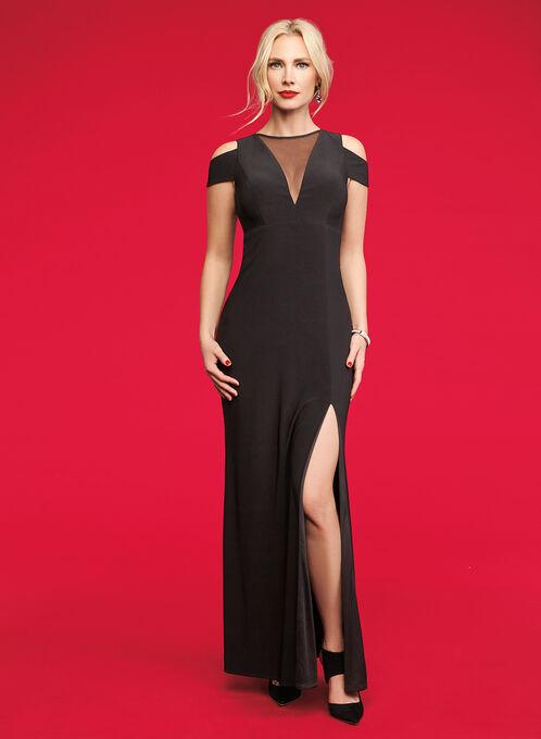 Jersey & Mesh Cold Shoulder Gown , Black, hi-res