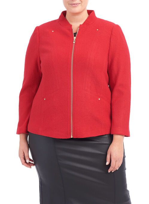 Boiled Wool Jacket, Red, hi-res