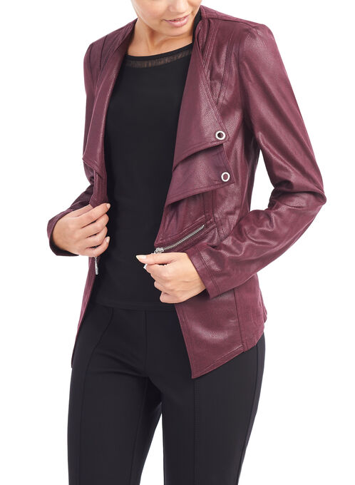 Faux Suede Drape Collar jacket , Red, hi-res