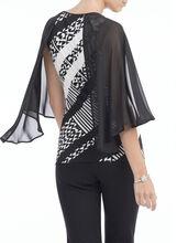 Printed Flutter Sleeve Top , White, hi-res