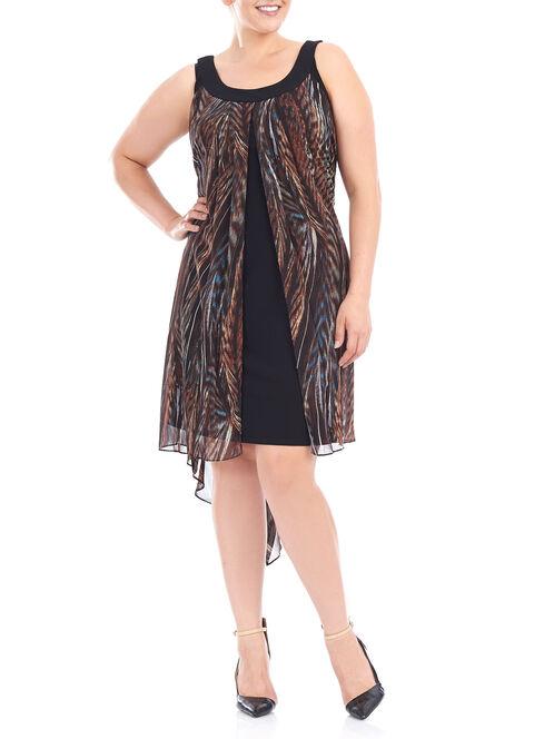 Sleeveless Chiffon High-Low Dress, Brown, hi-res