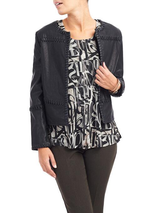 Faux Leather Whipstitch Jacket, Black, hi-res