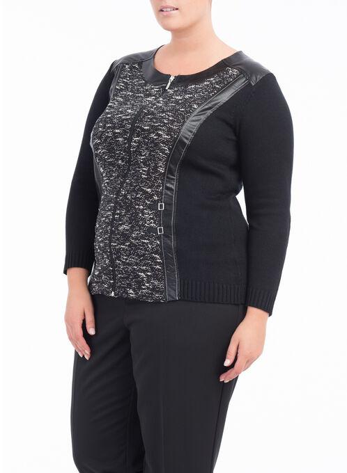 Long Sleeve Printed Knit Cardigan , Black, hi-res