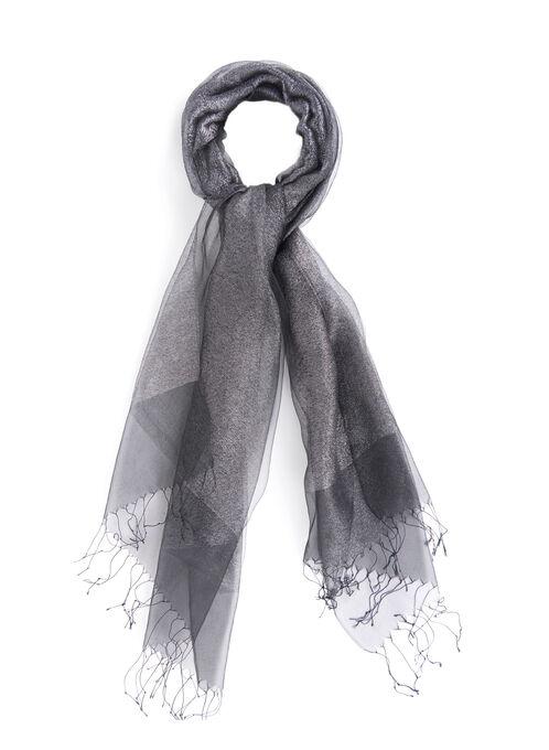 Silk Sheer Evening Wrap , Black, hi-res