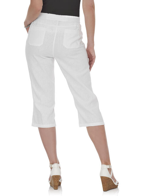 Drawstring Linen Capri Pants, White, hi-res
