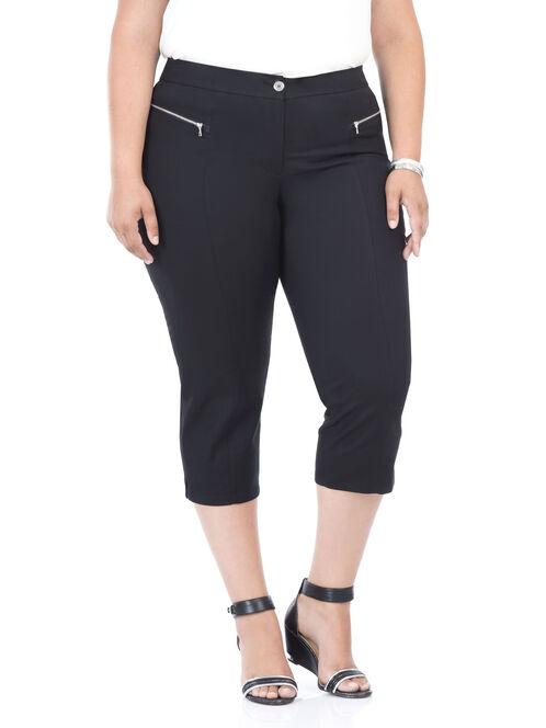 Straight Leg Capri Pants, Black, hi-res