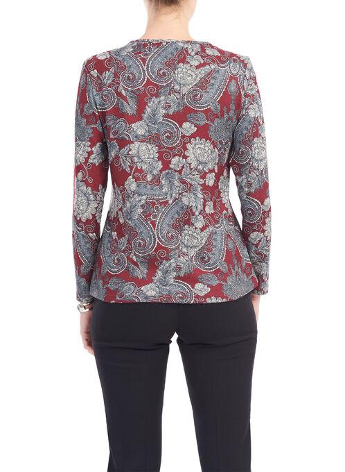 Paisley Print Long Sleeve Top, Red, hi-res