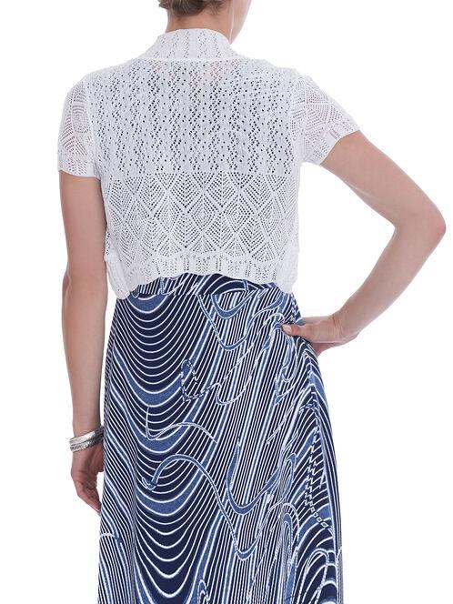 Short Sleeve Crochet Bolero, White, hi-res