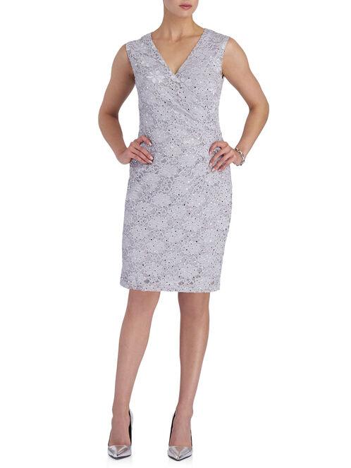 Sequin Lace V-Neck Dress, Grey, hi-res