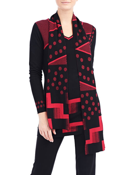 Printed Knit Tunic with Scarf, Black, hi-res