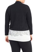 Beaded Knit Cardigan , Black, hi-res