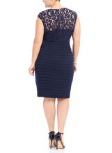 Cap Sleeve Jewel Neck Dress , Blue, hi-res