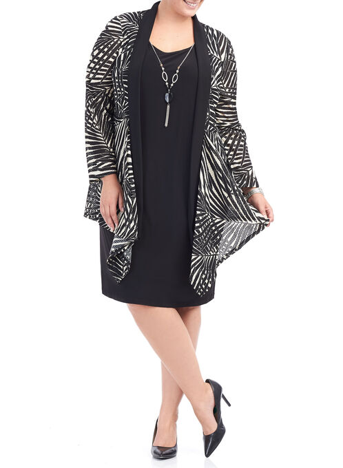 Jersey Dress with Necklace, Black, hi-res