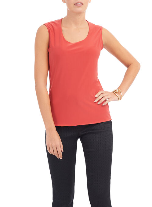 Sleeveless Horseshoe Neck Top, Orange, hi-res