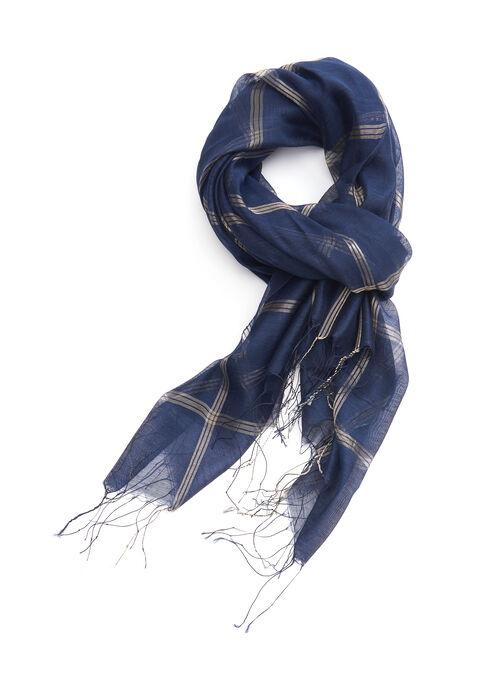 Lurex Plaid Evening Wrap, Blue, hi-res