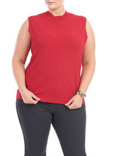 Sleeveless Knit Mock Neck Top, Red, hi-res