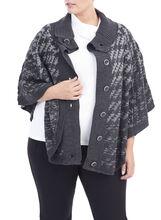 3/4 Sleeve Knit Poncho , Grey, hi-res
