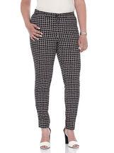 Bengaline Check Print Ankle Pants , Black, hi-res