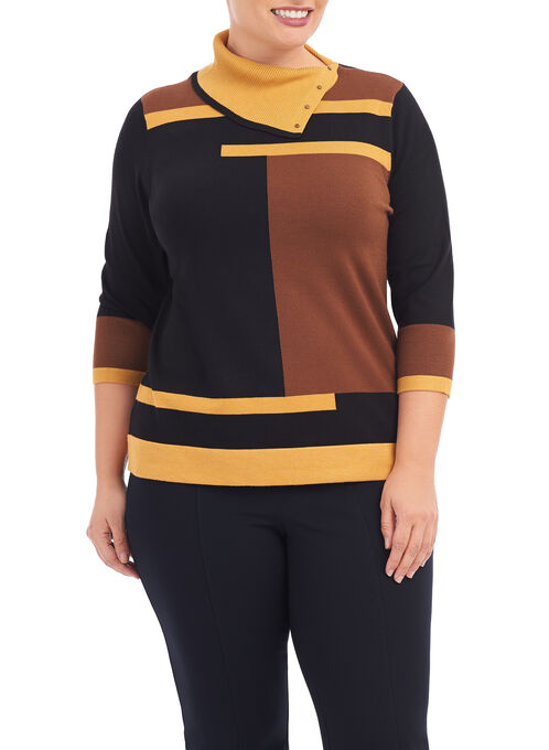 3/4 Sleeve Split Collar Sweater, Yellow, hi-res