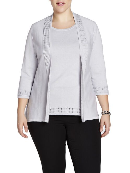 3/4 Sleeve Perforated & Ribbed Trim Cardigan, Grey, hi-res