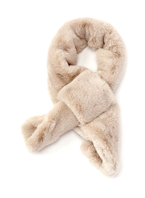 Faux Fur Slip Detail Scarf, Off White, hi-res