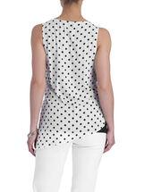 Sleeveless Dot Print Asymmetrcial Blouse, White, hi-res