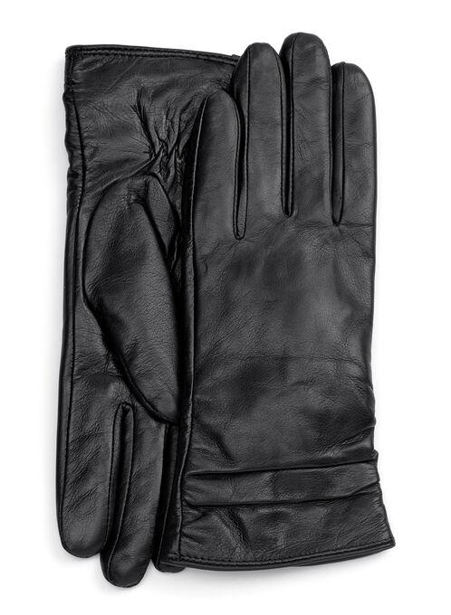Ruched Leather Gloves, Black, hi-res