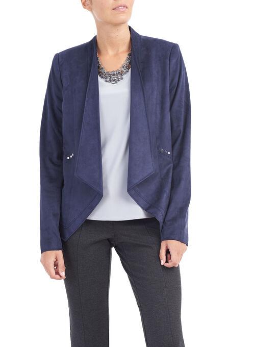 Faux Suede Studded Blazer, Blue, hi-res