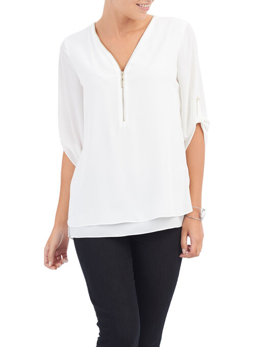 3/4 Sleeve Zipper Trim Blouse, Off White, hi-res