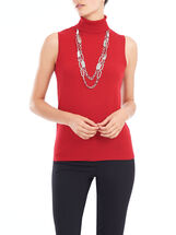 Sleeveless Knit Cowl Neck Top, Red, hi-res