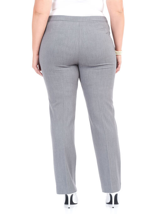 Straight Leg Buckle Trim Pants , Grey, hi-res