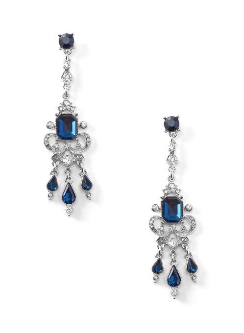 Teardrop Stone Earrings, Blue, hi-res
