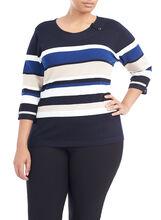 ¾ Sleeve Knit Scoop Neck Pullover, Blue, hi-res