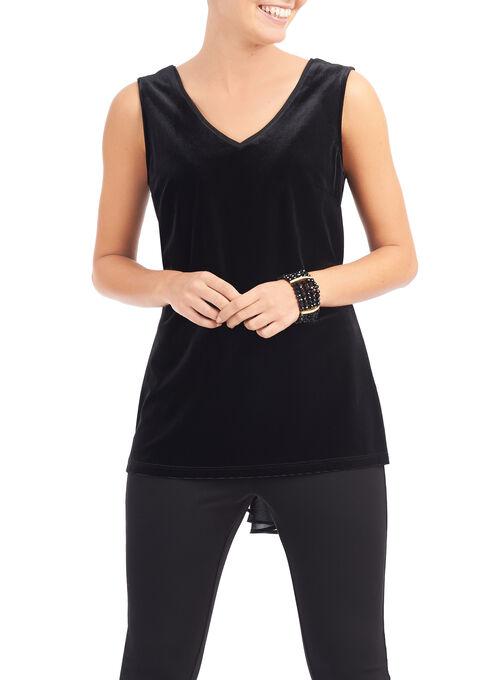 Sleeveless Velour Top, Black, hi-res