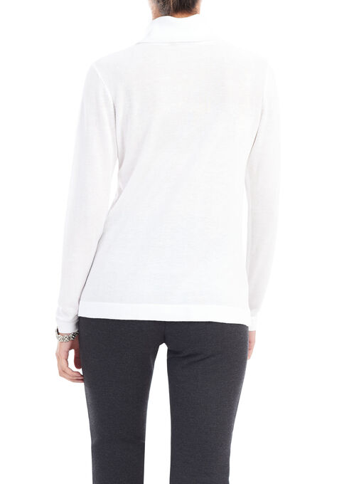 Long Sleeve Turtle Neck Sweater, Off White, hi-res