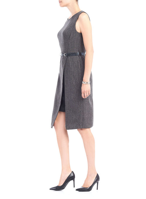 Sleeveless Belted Slit Dress, Black, hi-res
