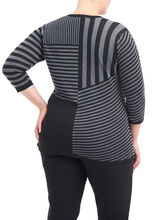 Striped Patchwork Button Down Sweater, Grey, hi-res