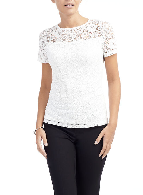 Short Sleeve Stretch Lace Top, Off White, hi-res