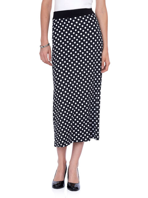 Dot Print Pull-On Maxi Skirt , Black, hi-res