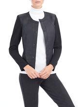 Long Sleeve Genuine Leather Jacket, Black, hi-res